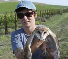 Carrie Wendt - Holding an owl in a vineyard